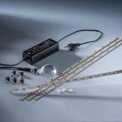 Plug&Play Starter-Kit 4 x  Multibar 44 Nichia LED Strip warm white CRI90 3000K 732lm 24V 44 LEDs 50cm with driver and cables