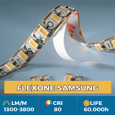 FlexOne tiras flexibles de LED, se puede cortar en cada LED, la salida de luz de hasta 3800 lm / m
