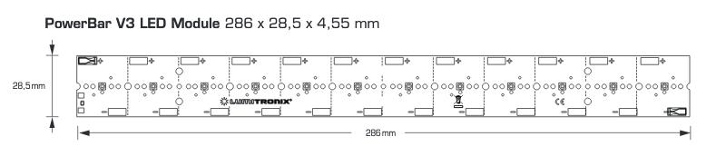 Módulo de LEDs UVA PowerBar, 12.1W de salida UVA, 31W de entrada de energía, 12 LEDs Nichia