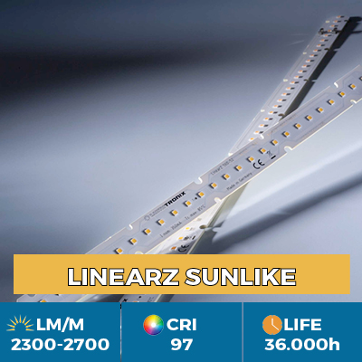 Módulos LinearZ profesionales con Toshiba-SSC SunLike TRI-R LED CRI97  , Plug & Play Zhaga, flujo hasta 2600 lm/m